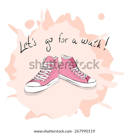 Hand drawn pair of pink sneakers - stock vector