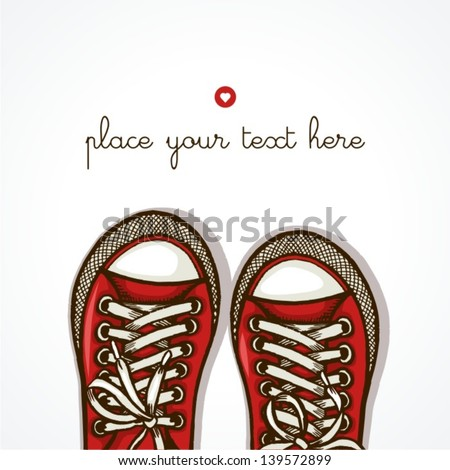 Hand drawn pair of sneakers on white background. Vector illustration. - stock vector