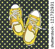 Hand drawn pair of yellow sneakers on the polka dot background. Vector illustration. - stock vector