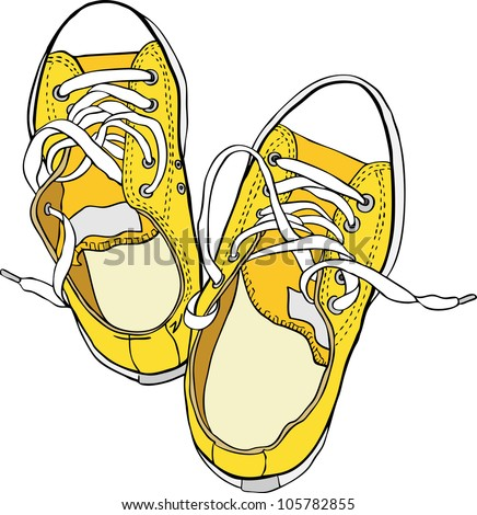 Hand drawn pair of yellow sneakers. Vector illustration. Raster version is in my portfolio. - stock vector