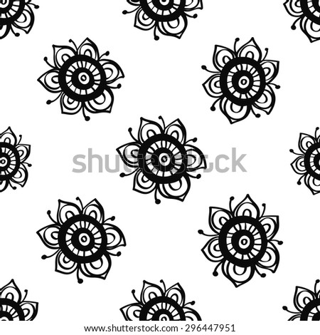 Hand Drawn paisley and mehendi graphic black line lace flower decoration items on white background. Set of isolated floral wedding decorative elements. Chess grid order