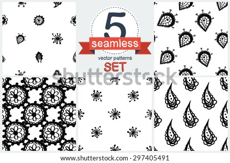 Hand Drawn paisley and mehendi graphic black line lace fringe, stamen, petal, teardrop, bud, daisy, circle decoration items on white background. Set of 5 vector seamless pattern. Chess grid order - stock vector