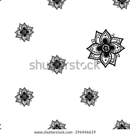 Hand Drawn paisley and mehendi graphic black line lace peony decoration items on white background. Set of isolated floral wedding decorative elements. Chess grid order - stock vector