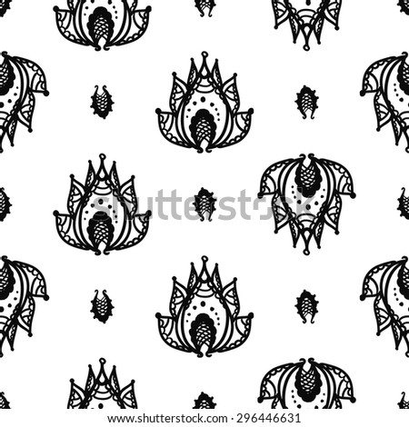 Hand Drawn paisley and mehendi graphic black line lace petal and lotus decoration items on white background. Set of isolated floral wedding decorative elements. Chess grid order