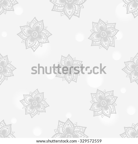 Hand drawn paisley and mehendi soft white seamless pattern. Light color line lace peony decoration items. Winter floral wedding decorative elements.  - stock vector