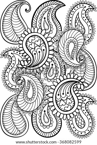 Hand drawn paisley pattern for adult coloring page A4 size in doodle, zentangle style, ethnic ornamental patterned print, monochrome sketch. Floral printable vector illustration. - stock vector