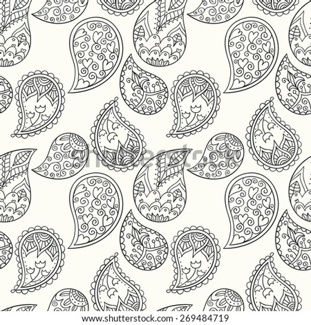 hand drawn paisley seamless pattern, black and white, outlines