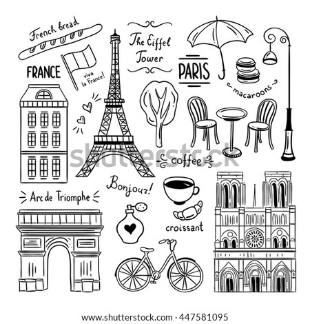 Hand drawn Paris and France clipart doodles. French symbols and objects outline sketches