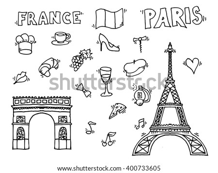 Hand drawn Paris illustration.