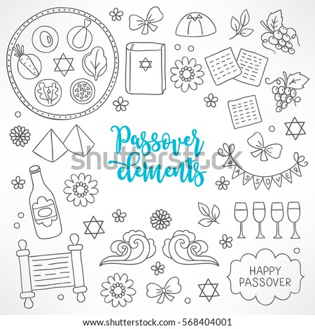 hand drawn passover design elements seder plate hagada book pyramid flower