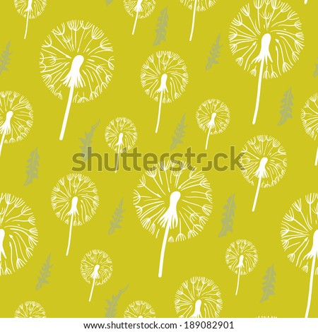 Hand drawn pattern of dandelion on yellow background. Seamless background for patterns, cards, textile, wallpapers, web pages. - stock vector