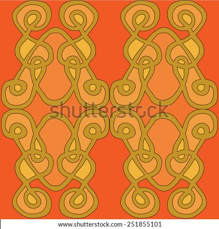 Hand drawn pattern tile on dark orange background with ornamental motives in Celtic style. Vector illustration. - stock vector