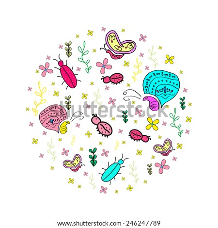 Hand drawn  pattern with insects. Butterfly, bugs, ladybug. - stock vector