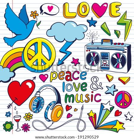 hand-drawn Peace symbols - stock vector