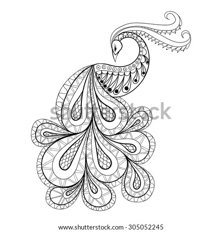 Hand drawn Peacock  for anti stress Coloring Page with high details, isolated on white background, illustration in zentangle style. Vector monochrome sketch. Bird collection. - stock vector