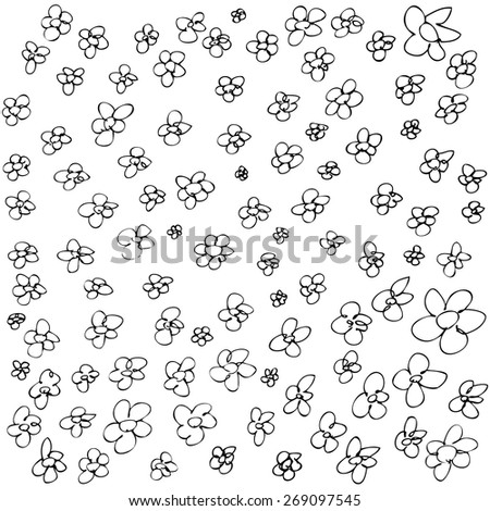 Hand drawn pen and ink illustration of flowers on a white background - stock vector