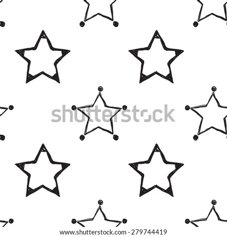 Hand drawn pen and ink outline and stroke stars seamless patterns. Set of isolated decorative symbols and elements in some shapes and designs. Black outline sketch on white background