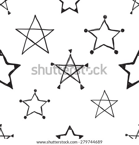 Hand drawn pen and ink outline, line-art, stroke, path stars seamless patterns. Set of isolated decorative symbols and elements in some shapes and designs. Black outline sketch on white background