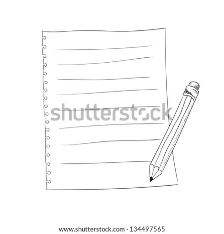 Hand drawn pencil and notepad in vector. - stock vector