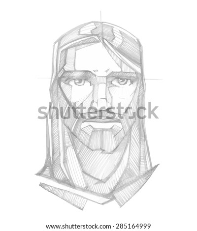 Hand drawn pencil sketch vector illustration or drawing of Jesus Christ Face with a Serene expression - stock vector