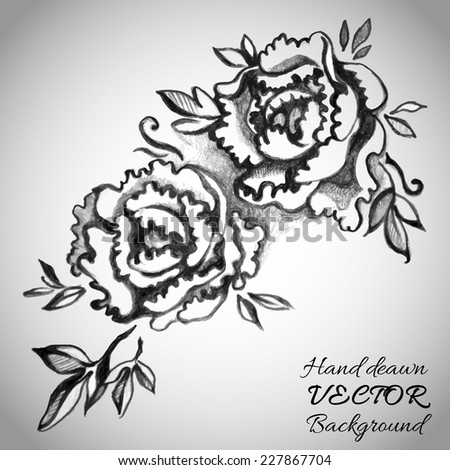 Hand drawn pencil sketch with peonies and leaves card designed for holiday greetings and invitations