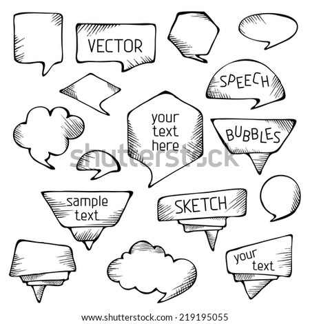 Hand-drawn pencil speech bubbles. Sketch objects isolated on white background.  - stock vector