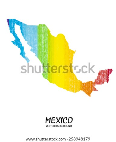 hand drawn pencil stroke map of Mexico isolated on white. Vector version - stock vector