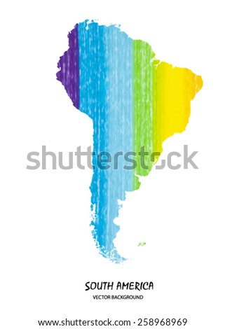hand drawn pencil stroke map of South America isolated on white. Vector version - stock vector