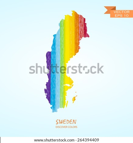 hand drawn pencil stroke map of Sweden isolated. Vector version - stock vector