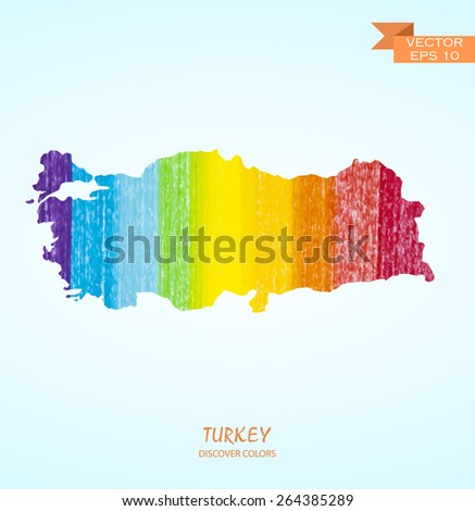 hand drawn pencil stroke map of Turkey isolated. Vector version