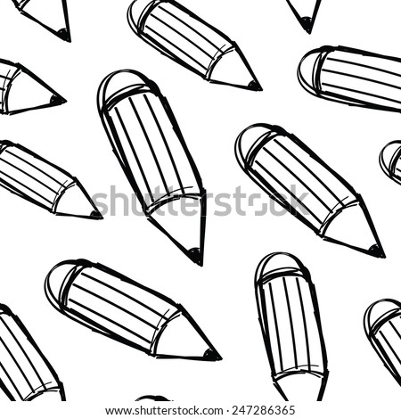 Hand drawn pencils. Seamless pattern. - stock vector