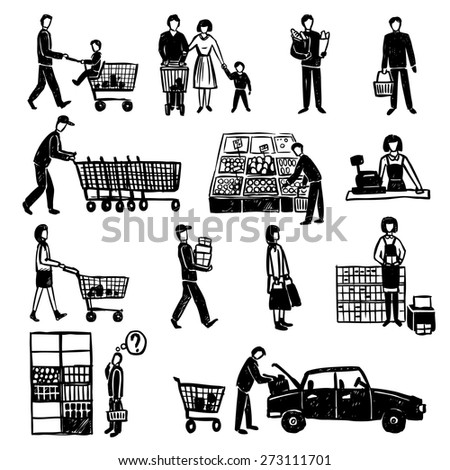 Hand drawn people doing shopping in supermarket black decorative icons set isolated vector illustration - stock vector