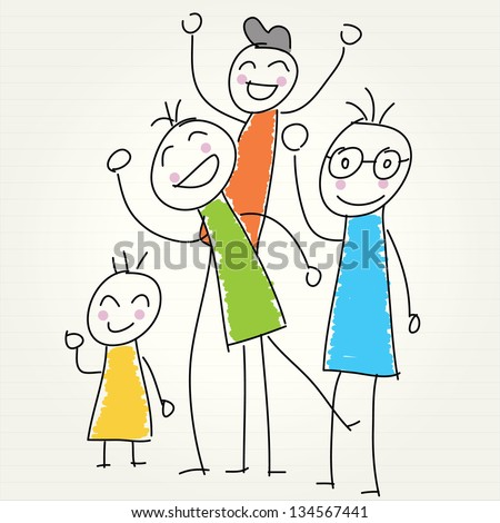 Hand Drawn people laughing - stock vector