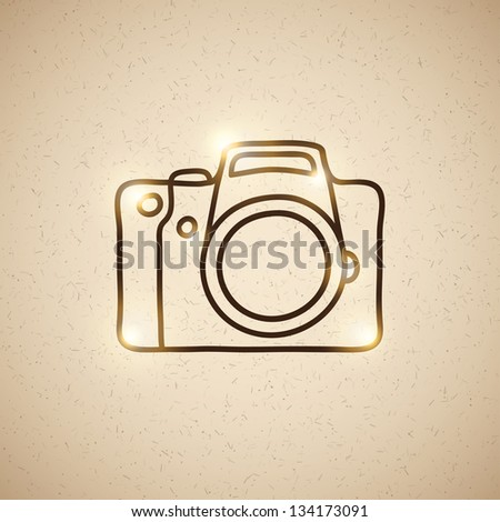 hand drawn photo camera on vintage background - stock vector