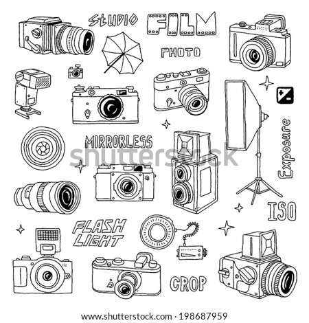 Hand drawn photo cameras set 2. Vector illustration. - stock vector