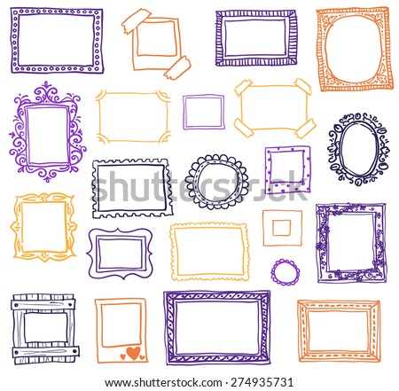 Hand drawn photoframes. Doodle vector illustration - stock vector