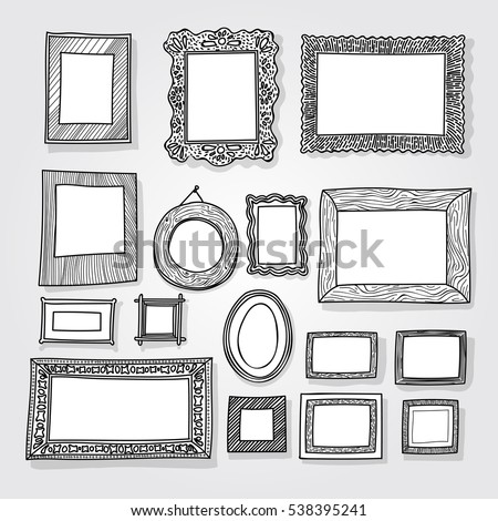hand drawn photoframes isolated on white background freehand drawing doodle vector illustration - Drawing Frame