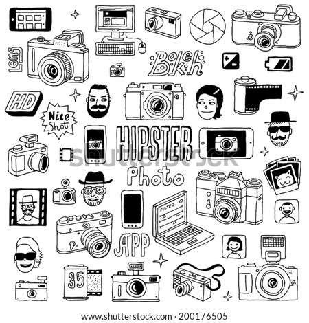 Hand drawn photographic doodles set. Vector illustration. - stock vector