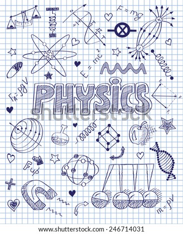 hand drawn Physics set - stock vector