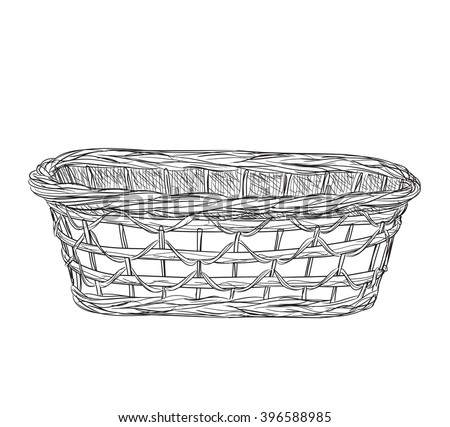 Hand drawn picnic basket isolated on white background. Sketch illustration of willow basket.