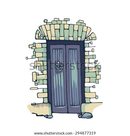 Hand drawn picture of blue ancient door isolated in white wall from bricks - stock vector