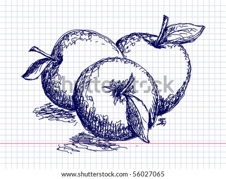 Hand drawn pictures. Apples. - stock vector