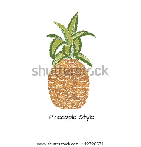 Hand drawn pineapple icon. Tropical background.Pineapple fruit illustration. Exotic template  - stock vector
