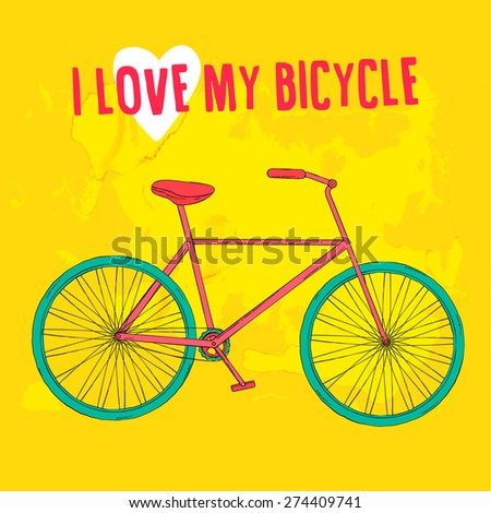 Hand drawn pink and blue bicycle on bright green background. Vector illustration. - stock vector