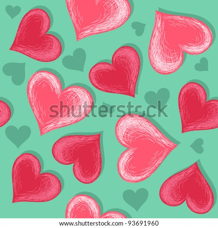 Hand drawn pink hearts (continuous background) - stock vector