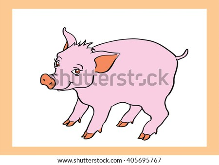 Hand Drawn Pink Smiling Cartoon Pig Stock Vector (2018) 405695767 ...