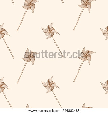 Hand drawn pinwheel pattern. Seamless vector background