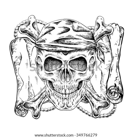 hand drawn pirate skull in exquisite style  - stock vector