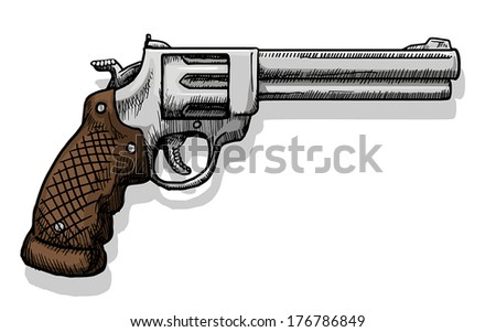 Hand drawn  pistol, vector illustration - stock vector