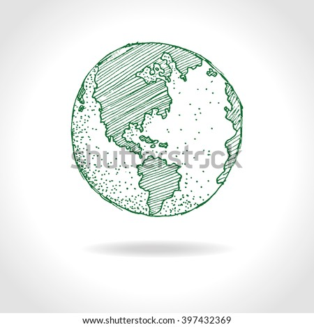 Hand drawn planet Earth - vector illustration.